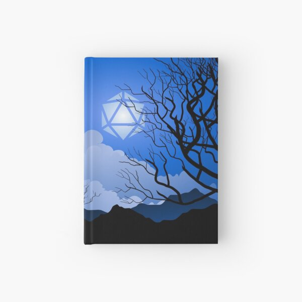 Full Moon Over Mountains D20 Dice Tabletop RPG Maps and Landscapes Hardcover Journal