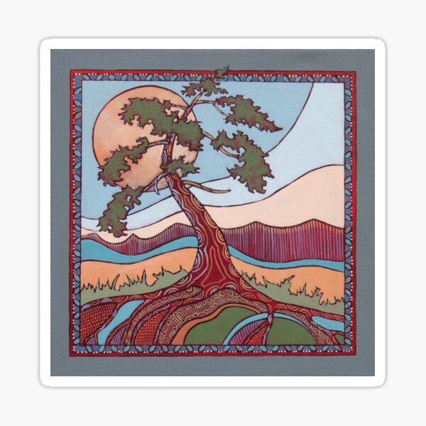 Art Nouveau/Folk Fusion Tree rooted in Design  Sticker