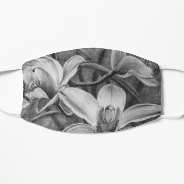 Orchid 2 - Original work charcoal drawing by Avril Thomas Mask