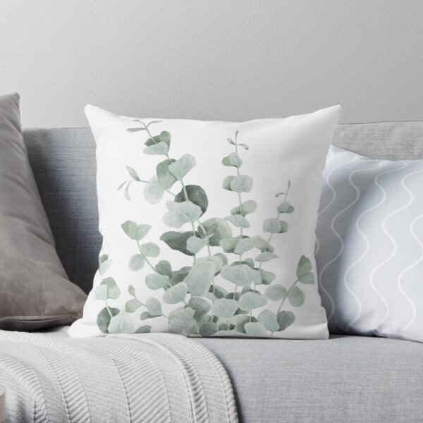 Standing Eucalyptus Leaves Throw Pillow
