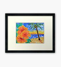 Tropical Beach Hibiscus Coconut Tree Sunrise Painting Framed Print