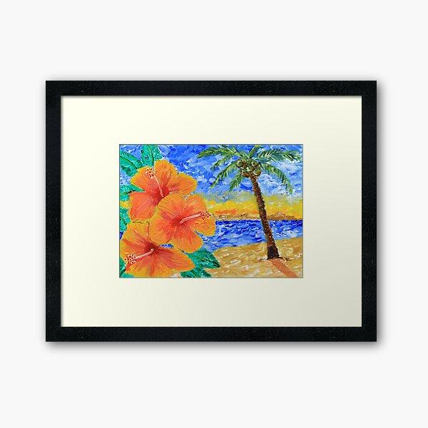 Tropical Beach Hibiscus Coconut Tree Sunrise Painting Framed Art Print