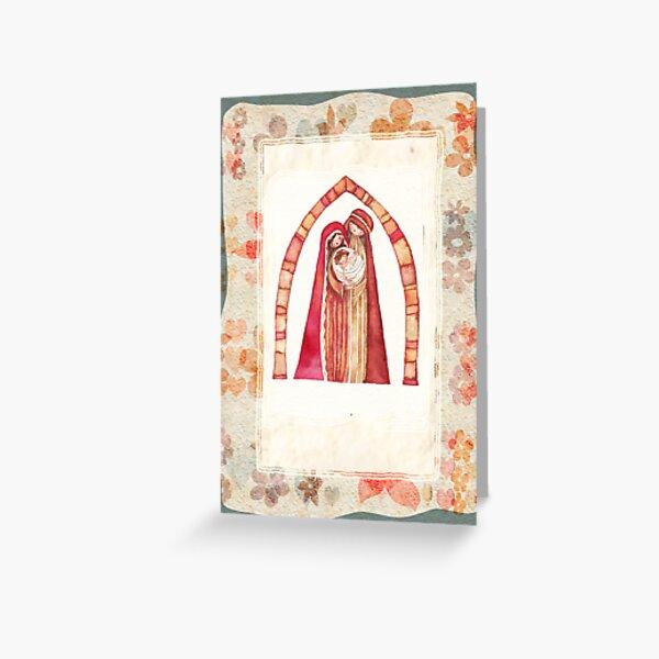 Christmas nativity scene: Jesus Christ , Joseph, Mary Greeting Card
