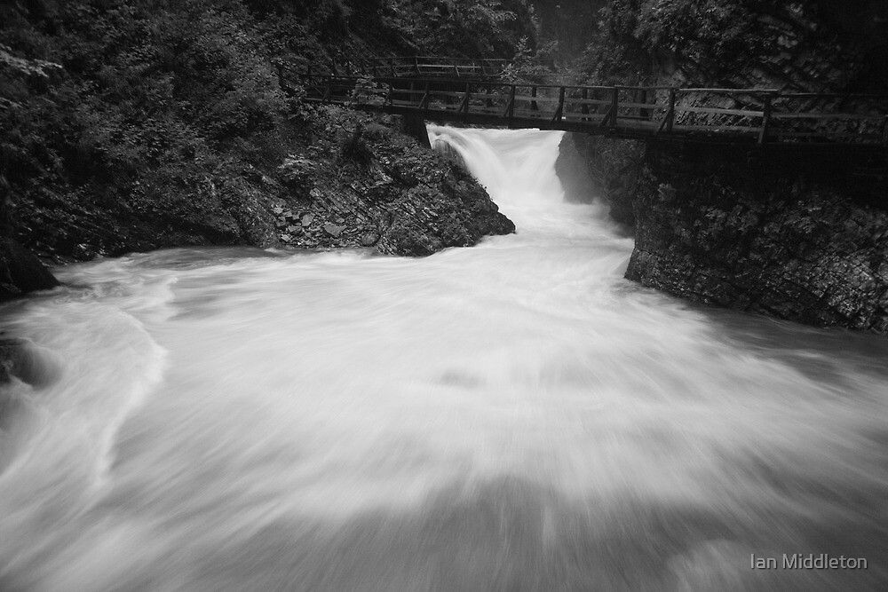 The Soteska Vintgar gorge in Black and White, Gorje, near Bled,  by Ian Middleton