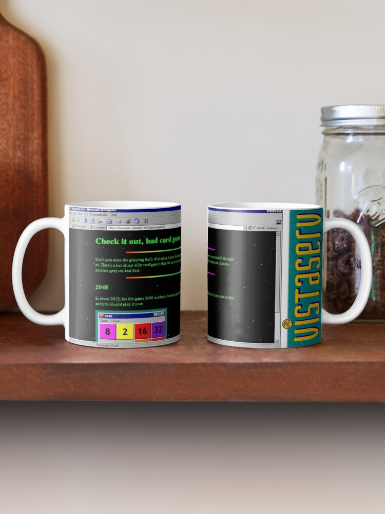 A mug with a screenshot of badcardgames's home page on it