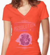 New Year's Resolution #7 - Save more money Women's Fitted V-Neck T-Shirt