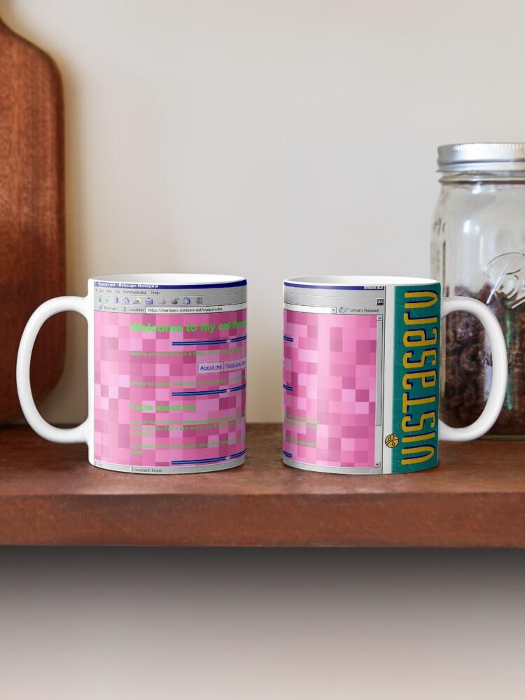 A mug with a screenshot of waxpancake's home page on it