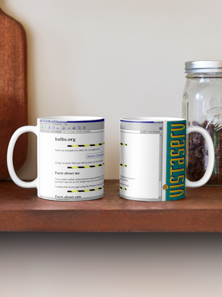 A mug with a screenshot of eblahm's home page on it