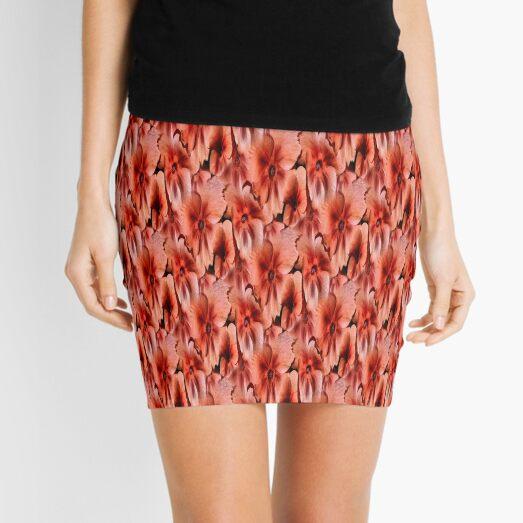 Peach Primrose Flowers Abstract Pattern Mini Skirt