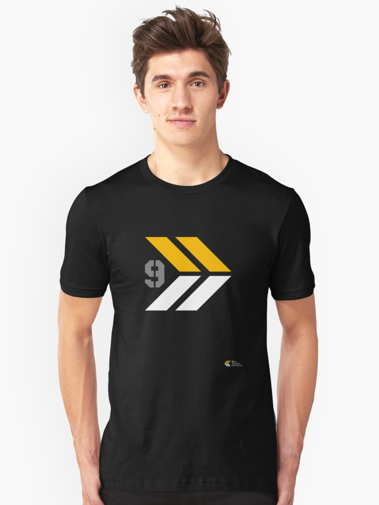 Arrows 1 - Yellow/Grey/White Unisex T-Shirt Front