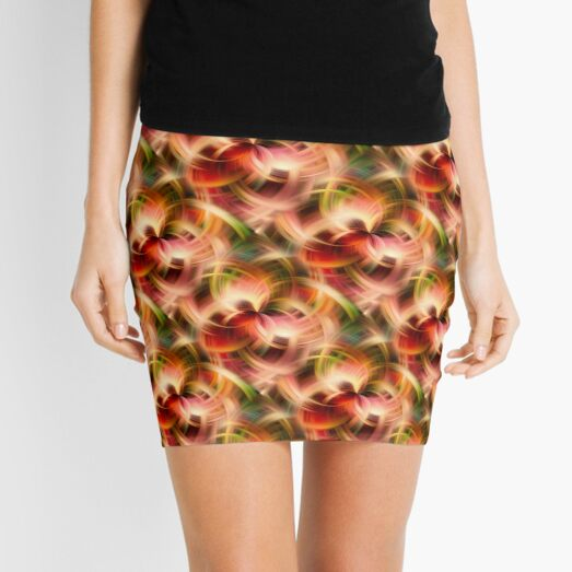 Swirling Red Pink Green And Yellow Colors Abstract Mini Skirt
