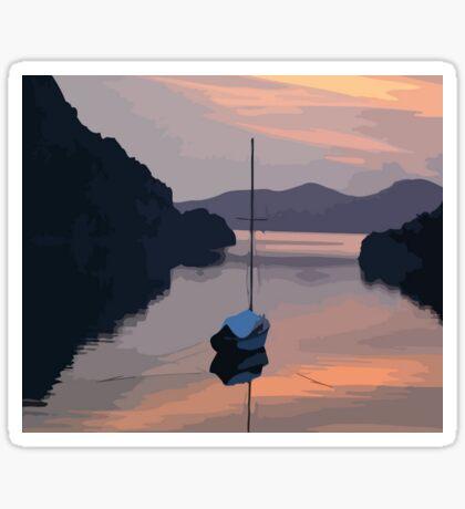 Boat At Bozburun At Sunset Vector Image Sticker