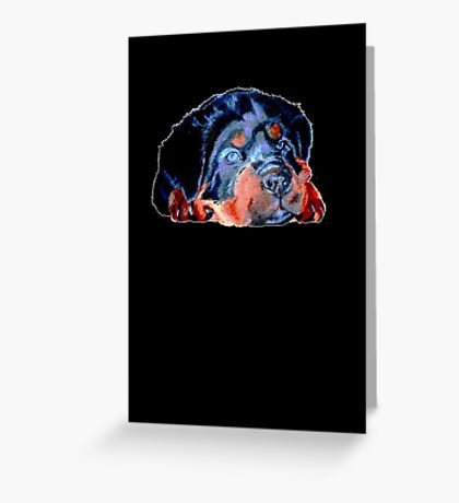 Pop Art Rottweiler Puppy Isolated Greeting Card