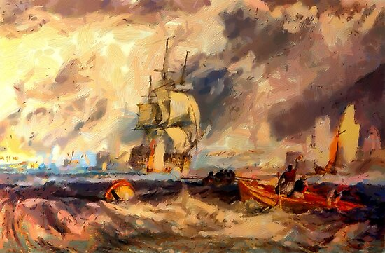 An Evening in Portsmouth Harbour 1825 by Dennis Melling