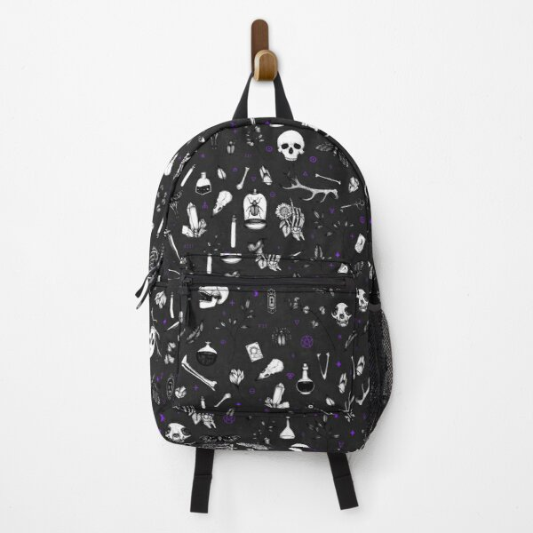 Black and Purple Witchy Pattern Backpack