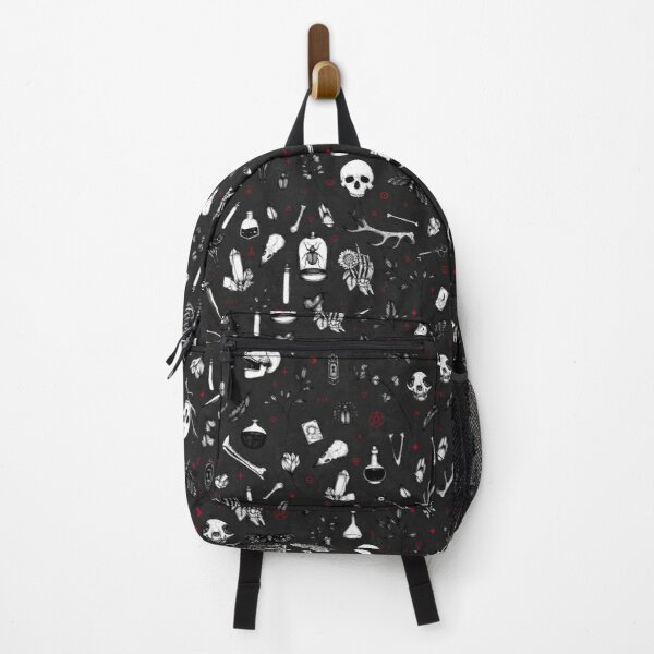 Black and Red Witchy Pattern Backpack