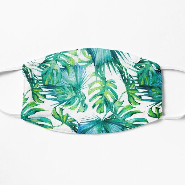 Blue Jungle Leaves, Monstera, Palm Flat Mask