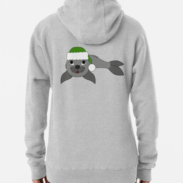 Gray Baby Seal with Christmas Green Santa Hat Pullover Hoodie