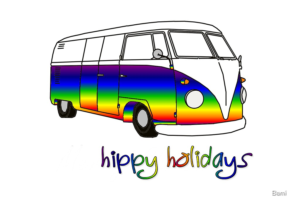 Hippy Christmas Card by Bami