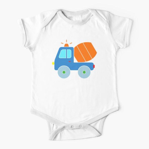 Cement Truck Concrete Mixer Toddler Construction Boys Short Sleeve Baby One-Piece