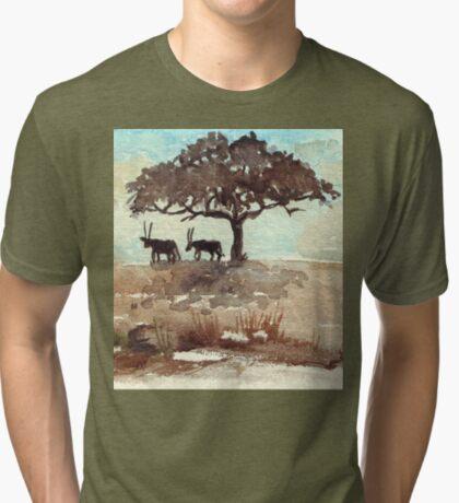 Safari Lodge décor - Gemsbok in the shadows Tri-blend T-Shirt