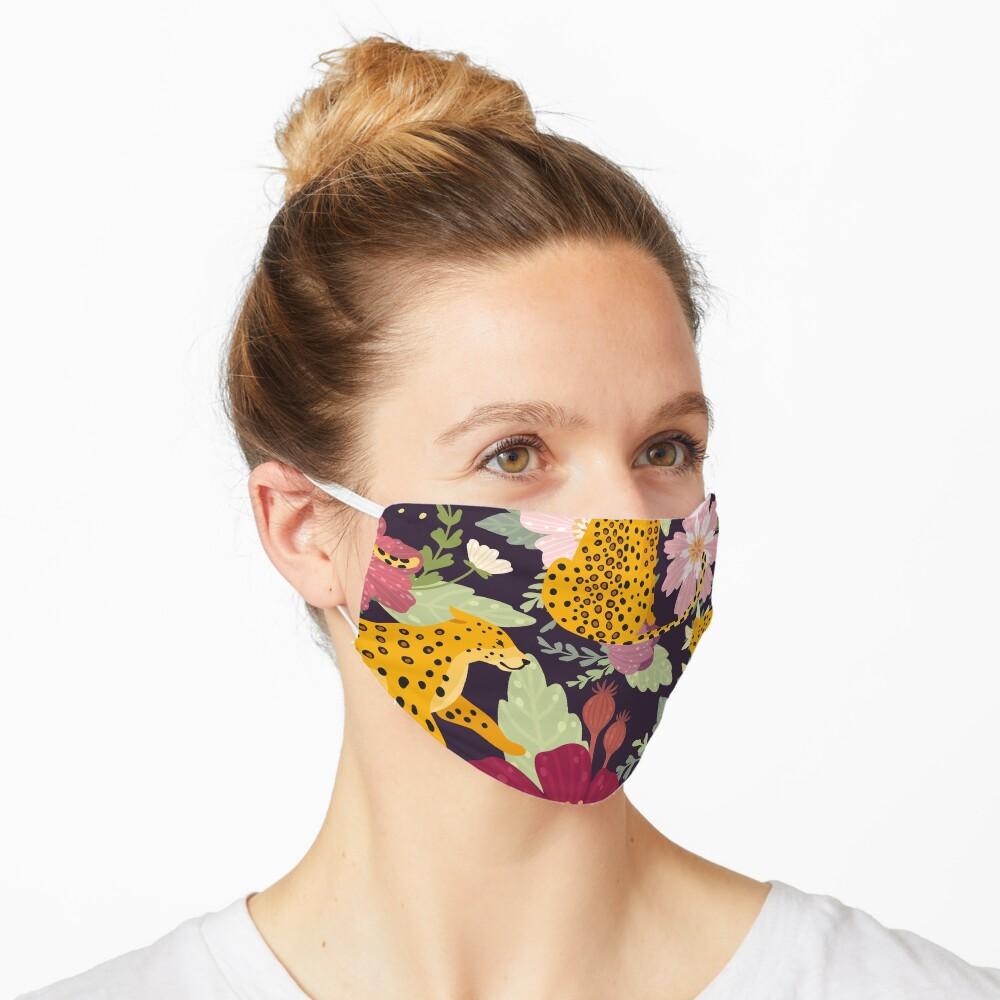 floral leopard Mask