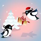 Winter Season Card - Birds Christmas Gift by ruxique