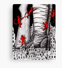 The War pen ink surreal drawing Canvas Print