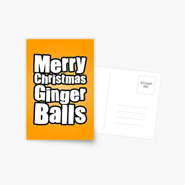 Merry Christmas Ginger Balls Postcard