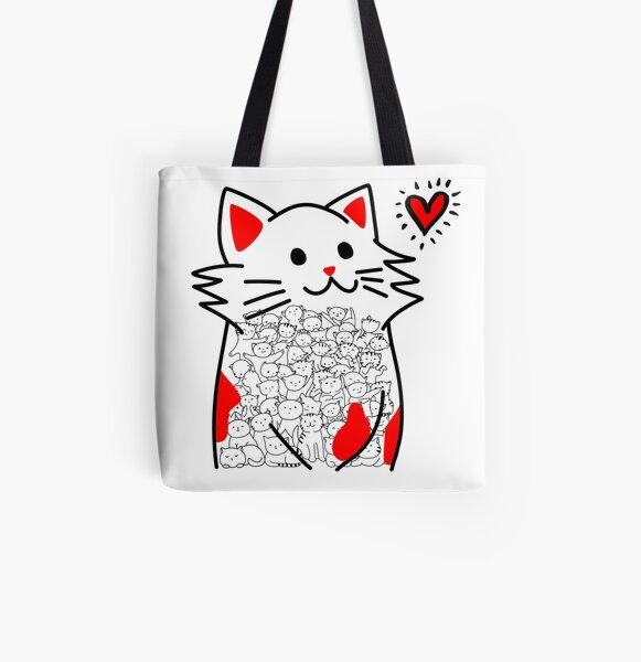 Cat Brighten Up My Heart (Red) All Over Print Tote Bag