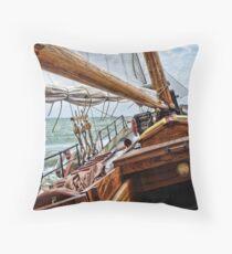 Ship on IJsselmeer, Holland Throw Pillow