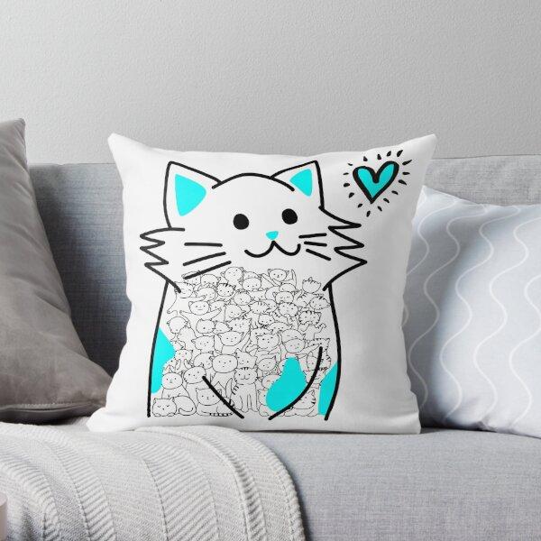 Cat Brighten Up My Heart (Blue) Throw Pillow