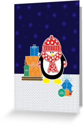 Presents From Penguin Christmas Card by Louise Parton