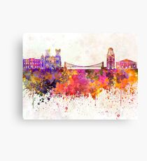 Bristol skyline in watercolor background Canvas Print