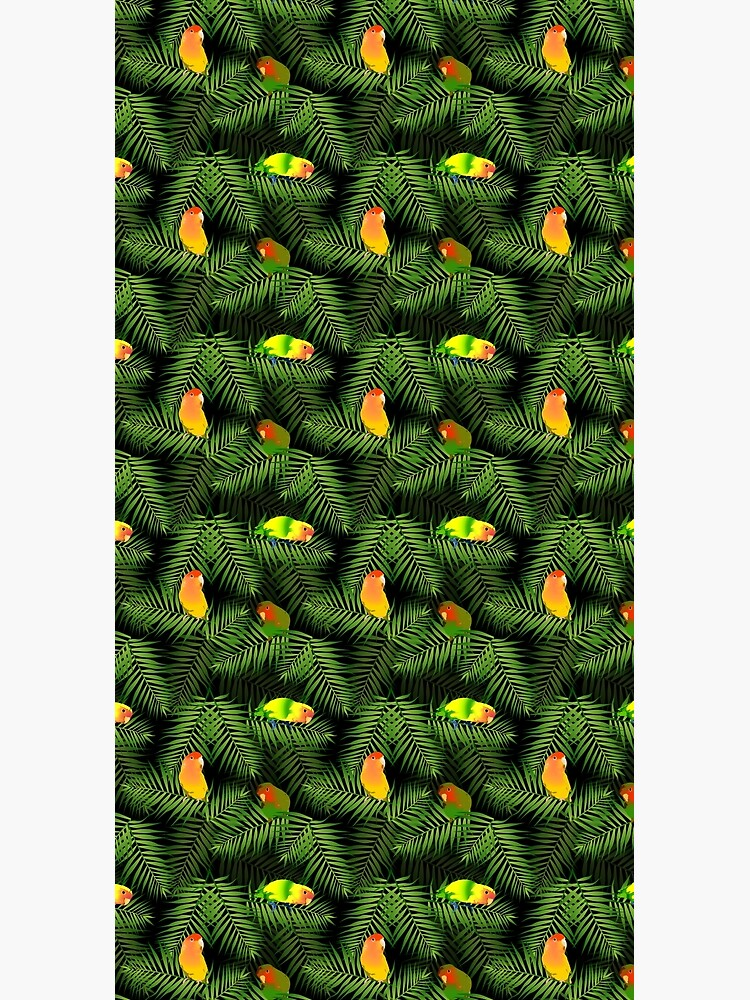 Yellow Lovebird Parrot & Palm Leaves by popparrot