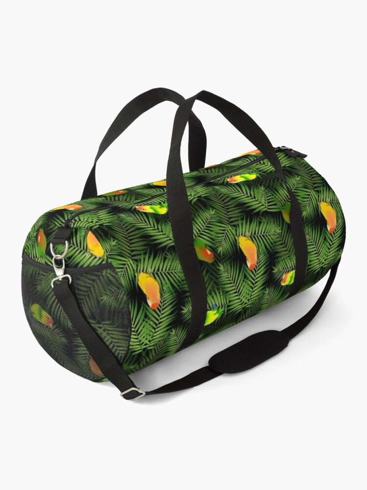 Alternate view of Yellow Lovebird Parrot & Palm Leaves Duffle Bag