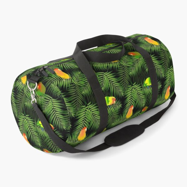 Yellow Lovebird Parrot & Palm Leaves Duffle Bag