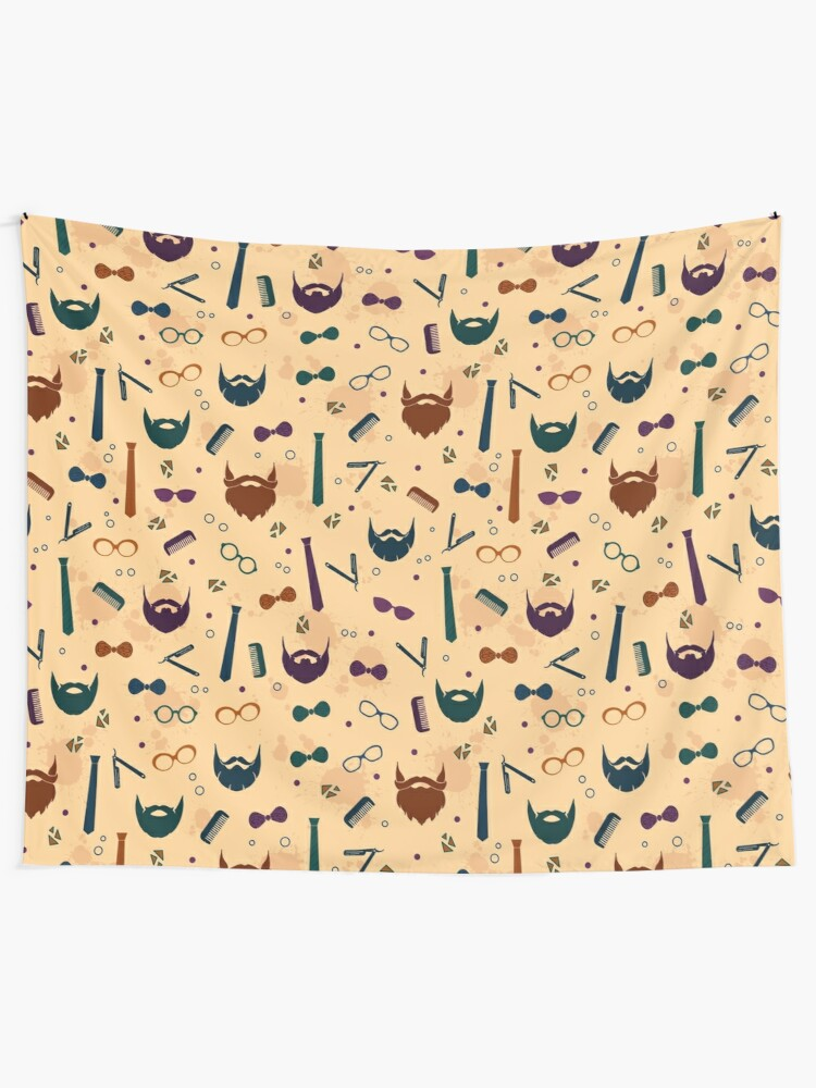 Alternate view of Colorful Modern Beard Design Tapestry