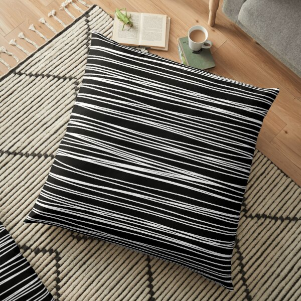 Black and white lines pattern Floor Pillow