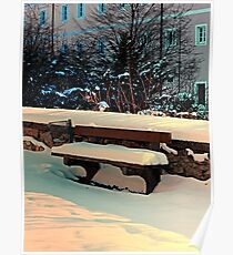 Snow covered bench Poster