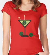 Martini glass knitting needles yarn Women's Fitted Scoop T-Shirt