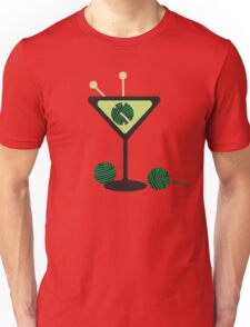 Martini glass knitting needles yarn Unisex T-Shirt