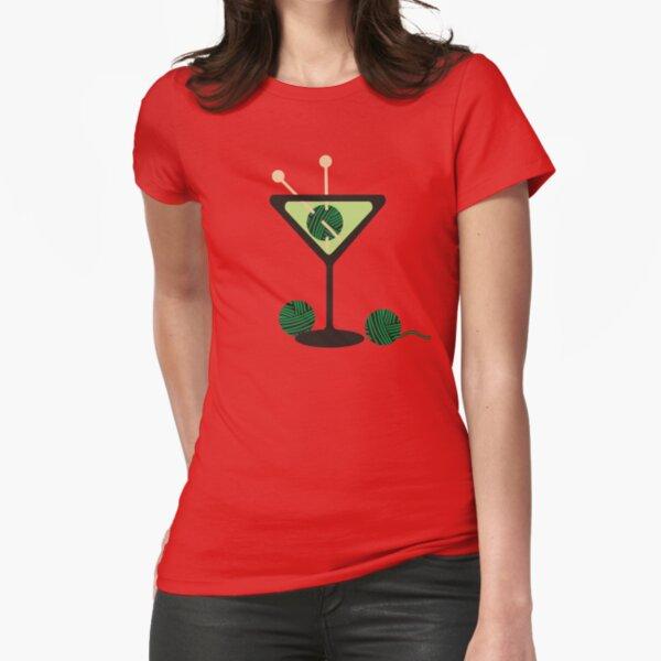 Martini glass knitting needles yarn Fitted T-Shirt