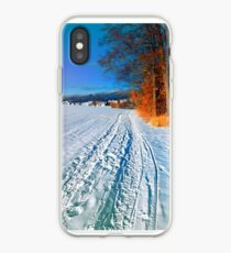 Hiking through a sunny winter scenery iPhone Case