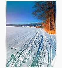 Hiking through a sunny winter scenery Poster