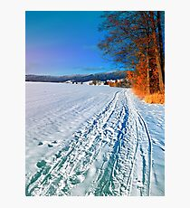 Hiking through a sunny winter scenery Photographic Print