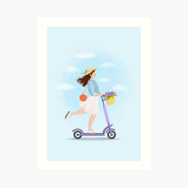 Girl on a kick scooter Art Print