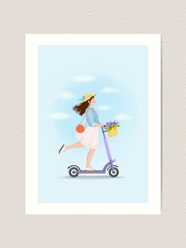 Alternate view of Girl on a kick scooter Art Print