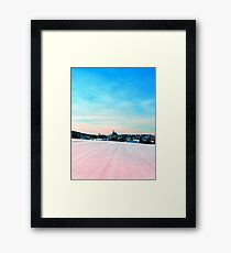 Village scenery in winter wonderland Framed Print