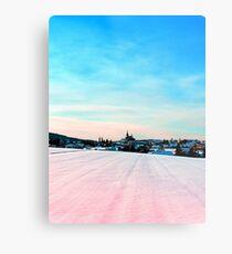 Village scenery in winter wonderland Metal Print